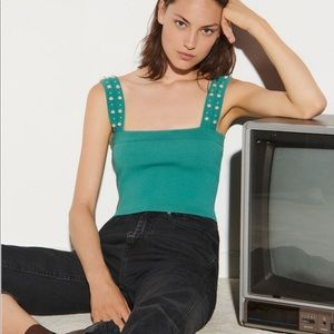 SANDRO Knitted crop top finished with beads